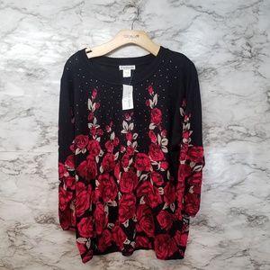 C.D Daniels Womens Floral Blouse Sz 2X New